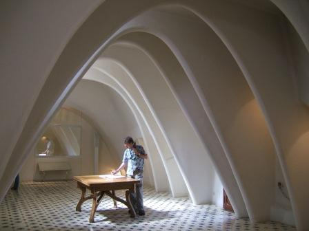 Hugh signing the visitors book at the Casa Batllo in Barcelona